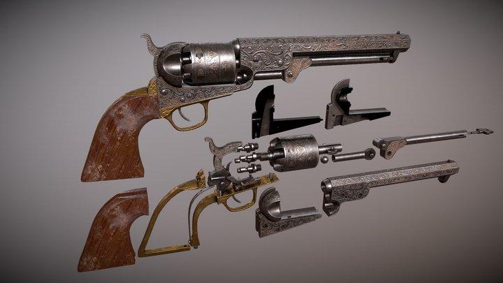 1851 Colt Navy Revolver 3D Model