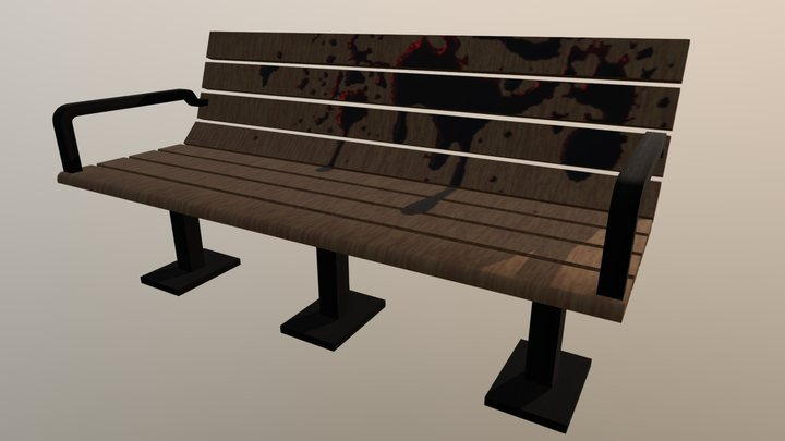 Park Bench Model (Bloody) 3D Model