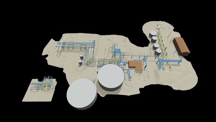 USA Water Plant Pipe Rack 3D Model