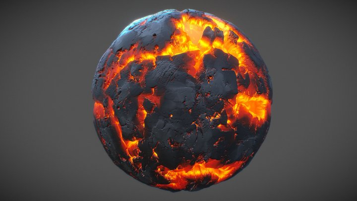 Stylized Lava With Displacement Nodevember day 1 3D Model