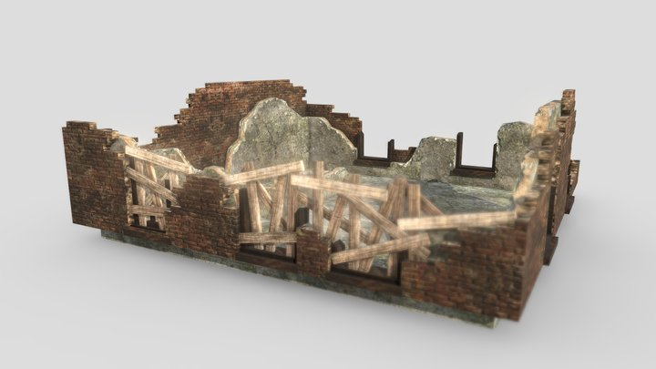 Apocalyptic Building Ruins 3D Model