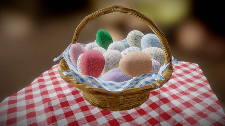 Easter Eggs with Basket - Low Poly 3D Model