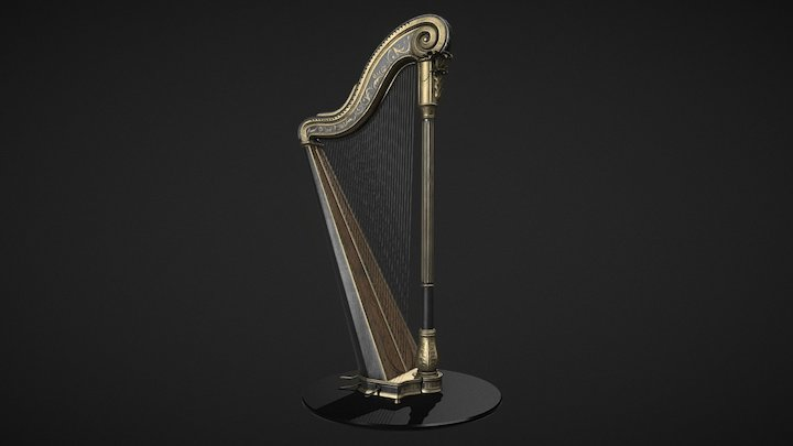 Pedal Harp 3D Model