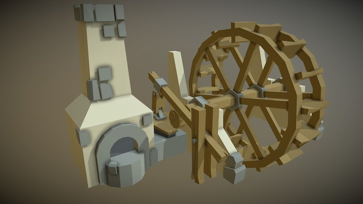 Water Wheel Asset 3D Model