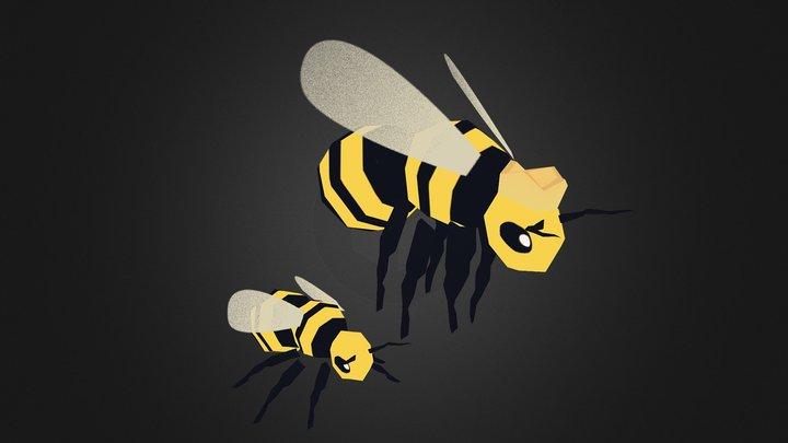 Worker Bee & Queen Bee 3D Model