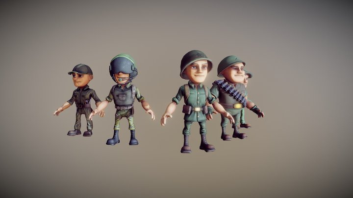 Stylized Military Characters 3D Model