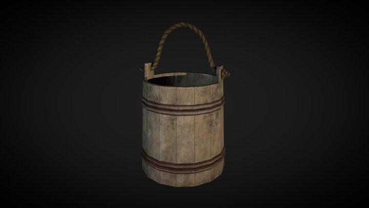 Wooden Bucket lowpoly 3D Model