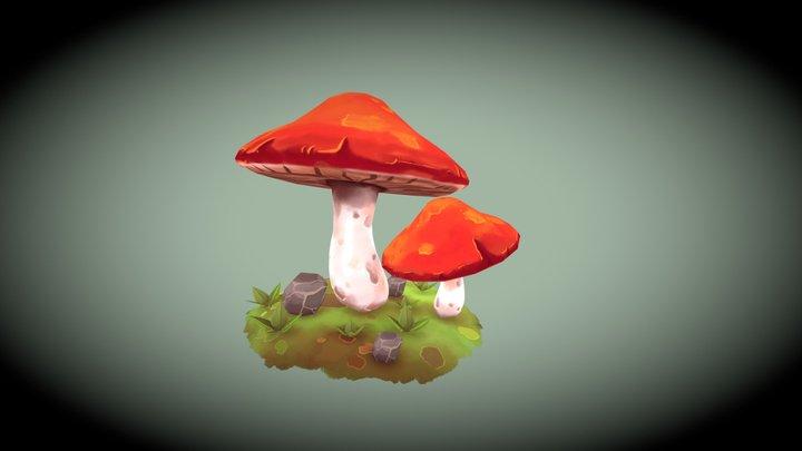 Handpainted mushrooms 3D Model
