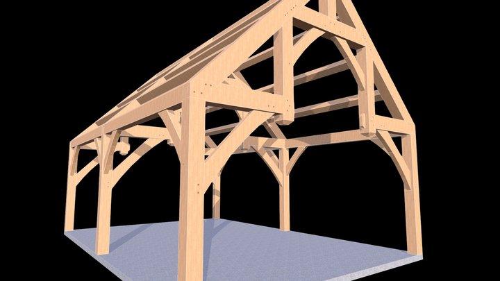 Hammer Beam Timber Frame 3D Model