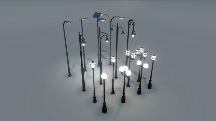 16 low-poly street lights 3D Model