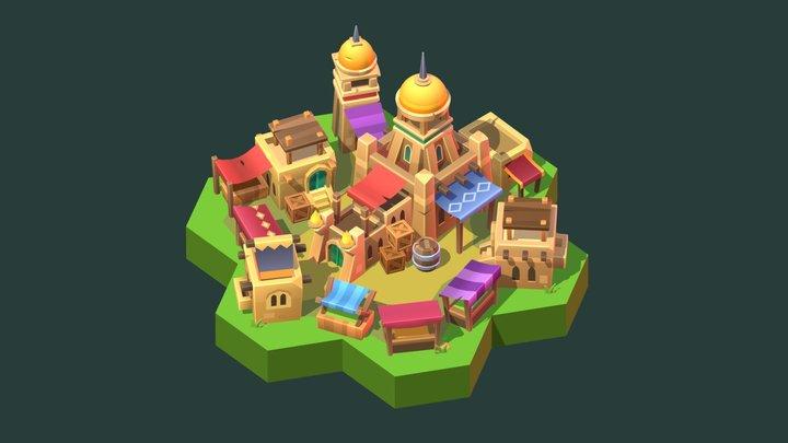 Stylized market building model 3D Model