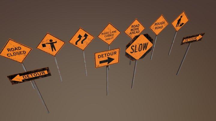 Construction Signs Set 3D Model