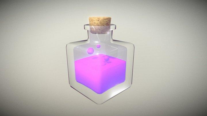 Lowpoly Glass Bottle with Cork #4 3D Model