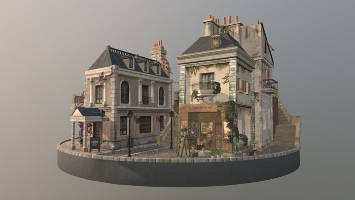 Cityscene Paris 3D Model