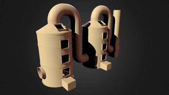 Two Deodorize Equipment 3D Model