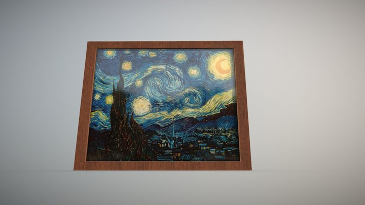 Starry Night by Vincent van Gogh PBR 3D Model