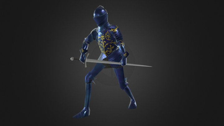 Low Poly Foot Combat Armour Of Christian I 3D Model