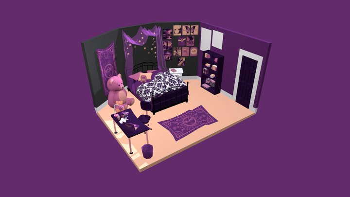 Purple Bedroom 3D Model