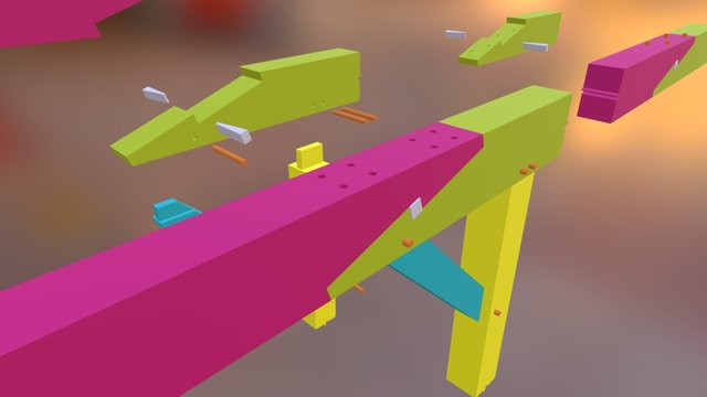 Scarf Joint With  Wedge 3D Model