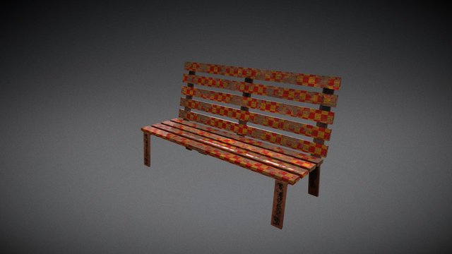 Grungy Carnival Bench 3D Model