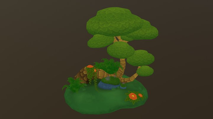 Fantasy Forest Diorama 3D Model