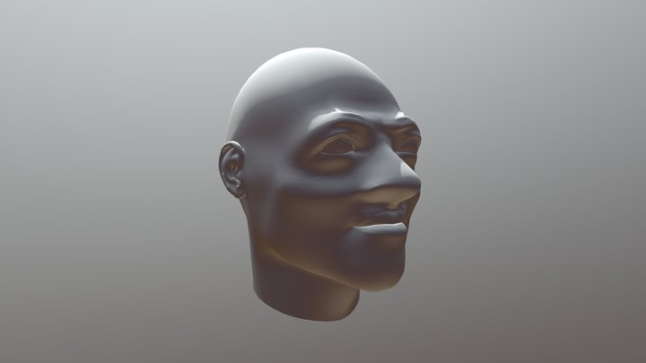 lowpoly scalp with outsized facial front part 3D Model