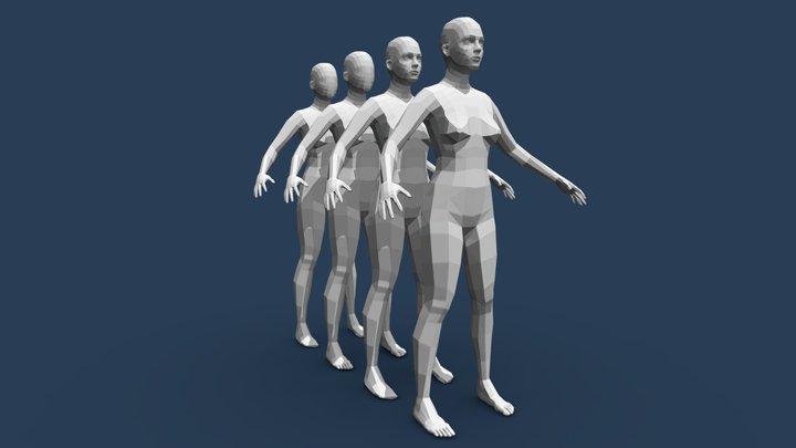 Low Poly Female base mesh 3D Model