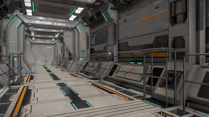 Sci-Fi Modular Corridor & Door Ver.2 - Low Poly 3D Model