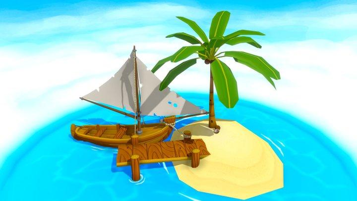 Sailboat and Island 3D Model