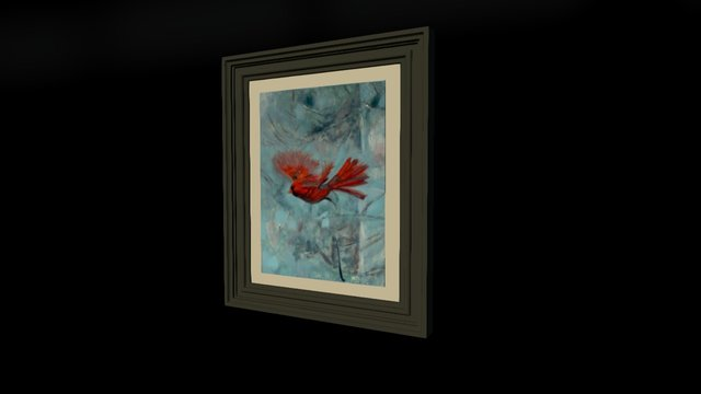 Red Cardinal snowing in Winter 3D Model