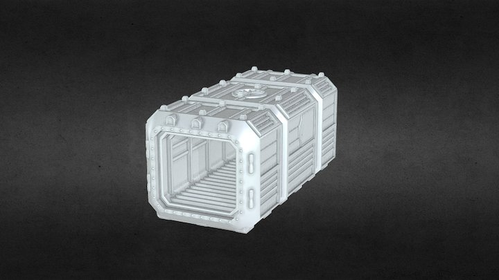 Orbital Navy Shipping Container 3D Model