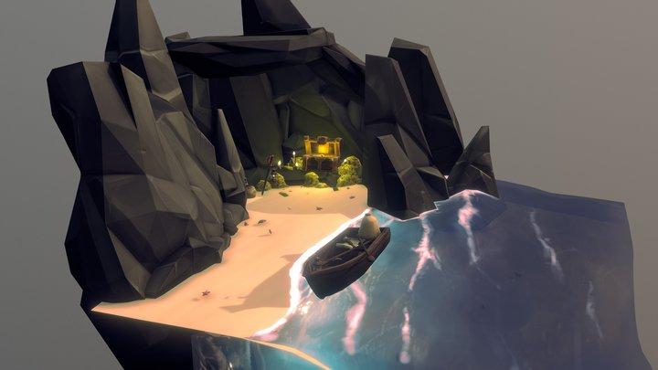 Pirates Treasure on the beach 3D Model