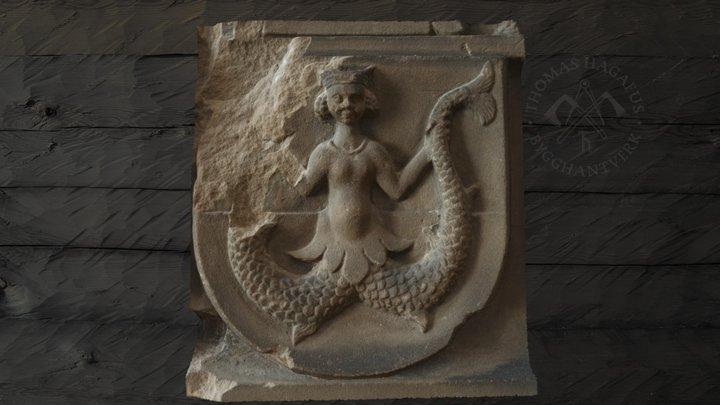 Heraldic Melusine in stone 3D Model