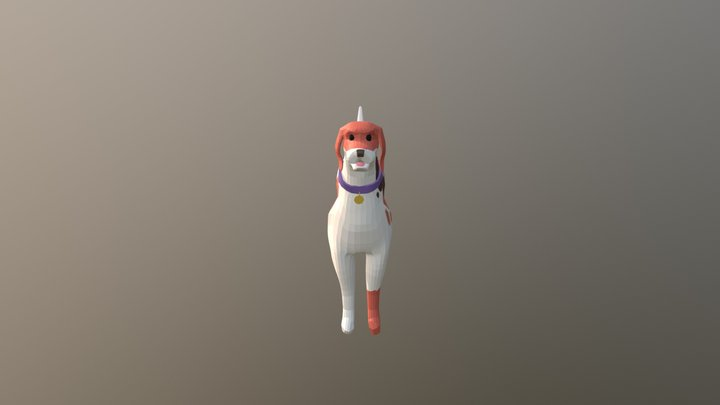 English Foxhound Bite And Drag Animation 3D Model