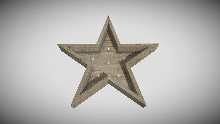 Wood Star with Light Bulbs 3D Model