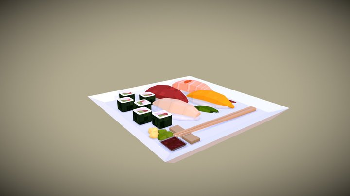 Sushi Vertex Painting 3D Model