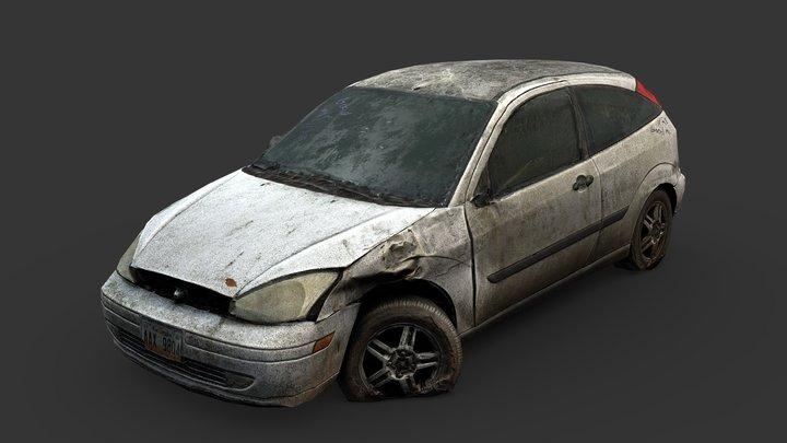 Derelict Hatchback Wreck (Gameready from Scan) 3D Model