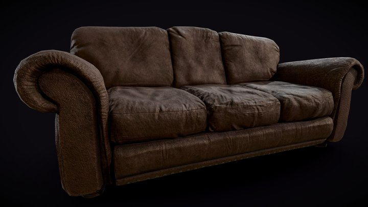 Dirty/Worn Brown Leather Couch (PBR) 3D Model