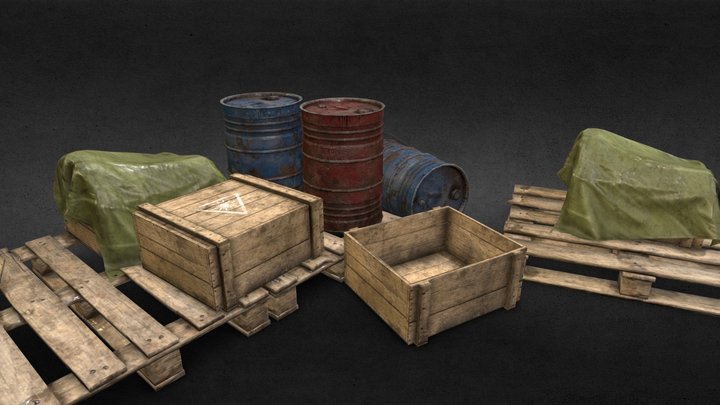 Factory equipment assets - low poly 3D Model