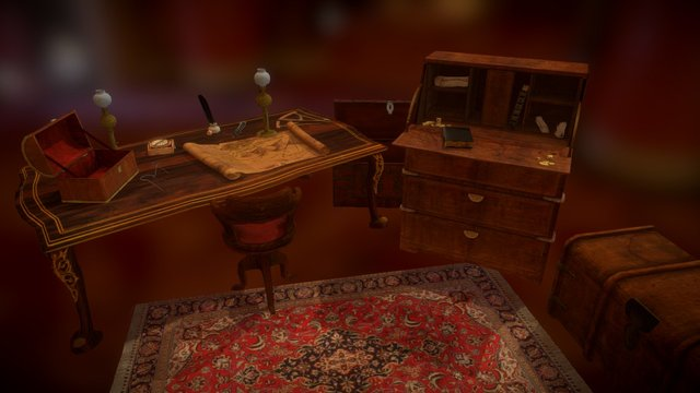 Table and writing desk 3D Model