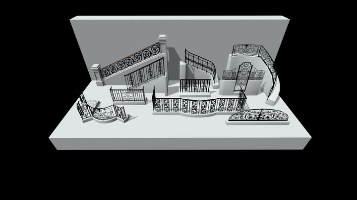 Wrought iron railings from Heritage Buildings 3D Model