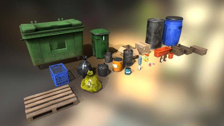 Pack of trash objects boxes bins and bottles 3D Model