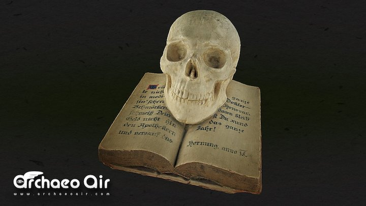 Death Skull and Book - 1859 - Totenkopf 3D Model