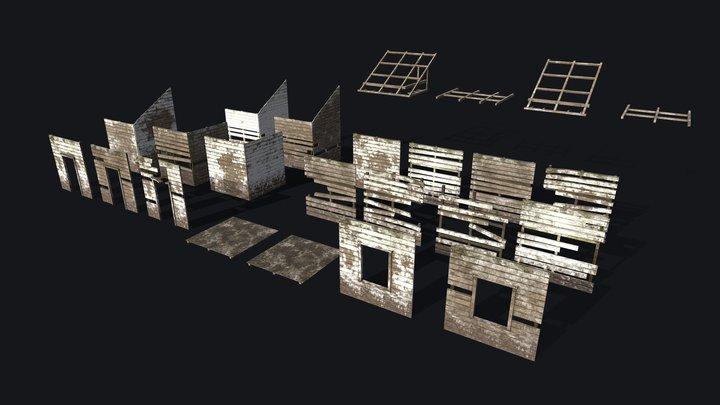 Wooden Building Modular Kit 3D Model