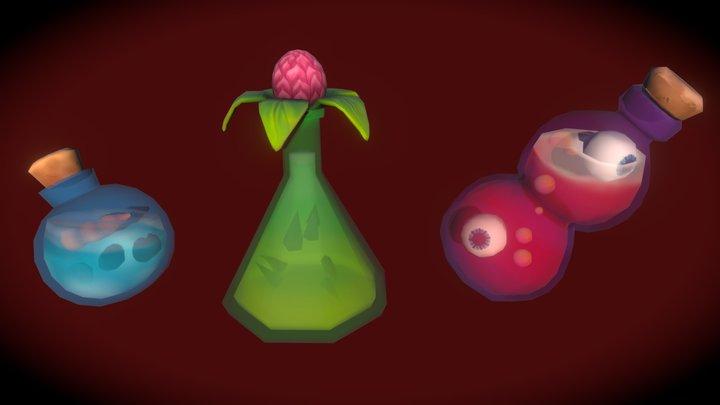 Potion Bottles: Frost, Thorns, & Insight 3D Model