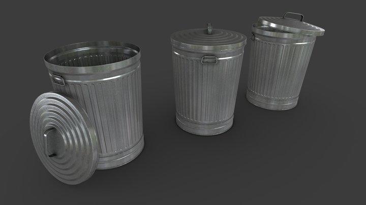 Metal Trash Can 3D Model