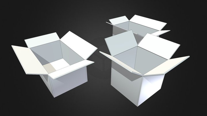 Cardboard Boxes untextured 3D Model