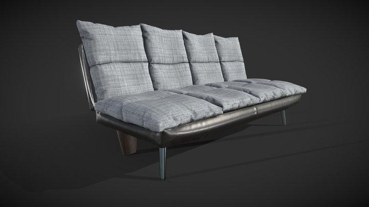 Rigged Sofa Bed 3D Model