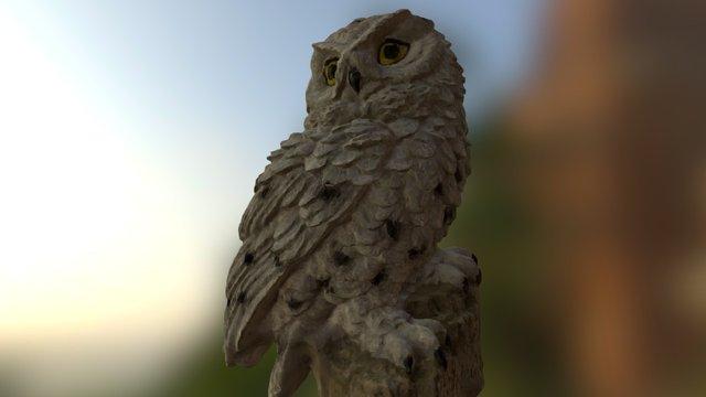 Snowy Owl Figurine 3Dscanned and Reduced 3D Model