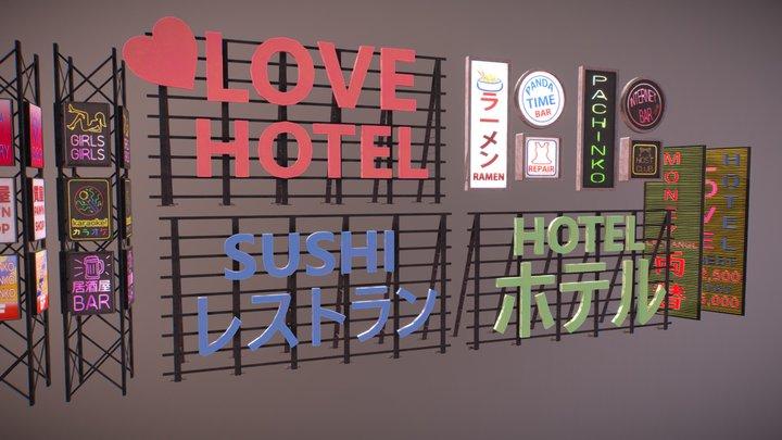 Tokyo Night Life Signs 3D Model